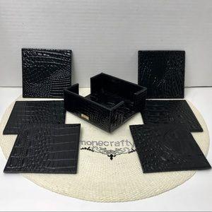 Brahmin Coaster Set BLACK MELBOURNE Leather New